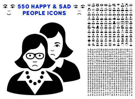 Sad Clever Women icon with 550 bonus sad and glad user pictures. Vector illustration style is flat black iconic symbols.