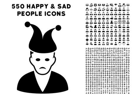 Sadly Clown icon with 550 bonus sad and glad people design elements. Vector illustration style is flat black iconic symbols.