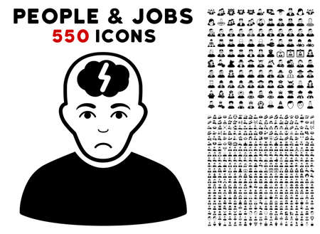Sadly Clever Boy icon with 550 bonus pitiful and glad men icons. Vector illustration style is flat black iconic symbols. Ilustrace
