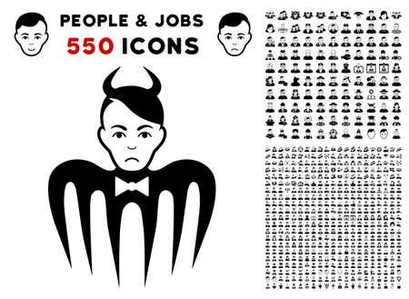 Dolor Devil Spectre icon with 550 bonus sad and happy men pictograms. Vector illustration style is flat black iconic symbols.