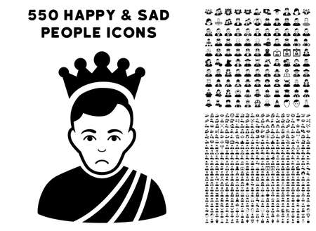 Unhappy Emperor icon with 550 bonus sad and glad people clip art. Vector illustration style is flat black iconic symbols.