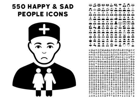 Sad Family Doctor icon with 550 bonus pity and happy user design elements. Vector illustration style is flat black iconic symbols.