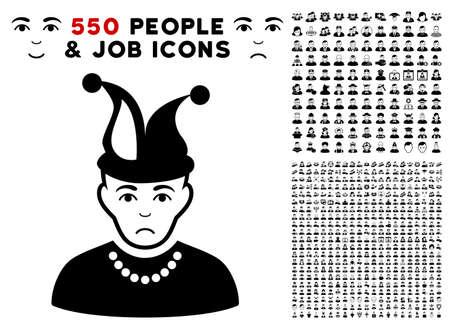 Unhappy Fool icon with 550 bonus pitiful and happy men pictographs. Vector illustration style is flat black iconic symbols. Illustration