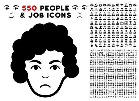 Sadly Hairstyle Head icon with 550 bonus pitiful and happy user pictograms. Vector illustration style is flat black iconic symbols.