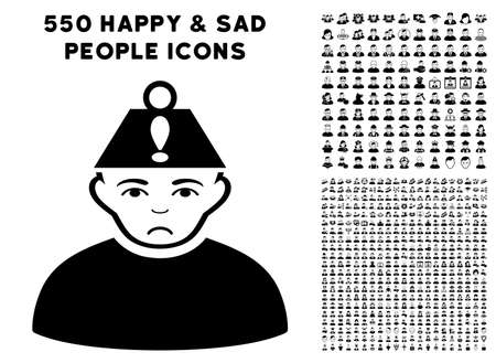 Sad Head Stress pictograph with 550 bonus pity and glad user pictographs. Vector illustration style is flat black iconic symbols.
