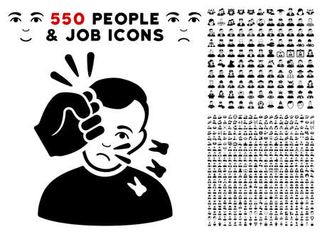 Dolor Head Strike icon with 550 bonus sad and glad people pictures. Vector illustration style is flat black iconic symbols.