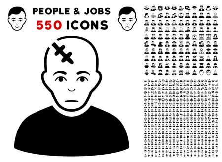Pitiful Head Hurt icon with 550 bonus pity and happy person symbols. Vector illustration style is flat black iconic symbols.