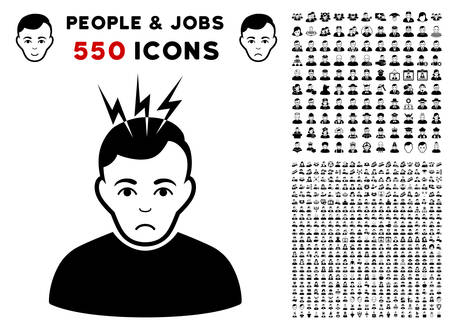 Pitiful Headache pictograph with 550 bonus sad and glad user images. Vector illustration style is flat black iconic symbols.
