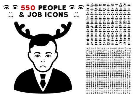 Sad Horned Husband pictograph with 550 bonus pitiful and glad jobs pictograms. Vector illustration style is flat black iconic symbols.