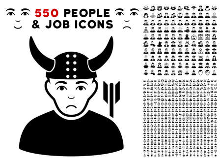 Unhappy Horned Warrior pictograph with 550 bonus pitiful and happy user images. Vector illustration style is flat black iconic symbols. Illustration