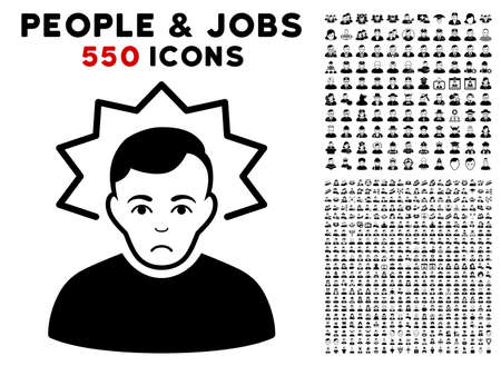 Sadly Inventor icon with 550 bonus pity and happy jobs images. Vector illustration style is flat black iconic symbols. Illustration