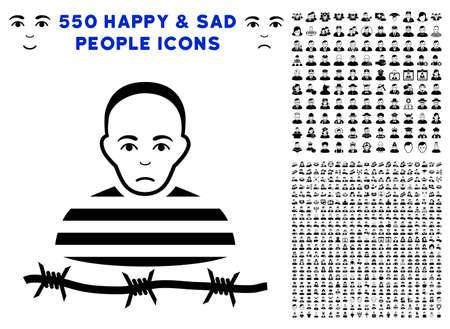 Sad Isolated Prisoner icon with 550 bonus pity and glad people symbols. Vector illustration style is flat black iconic symbols.
