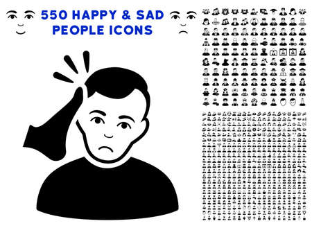 Dolor Kickboxer icon with 550 bonus pity and happy jobs pictures. Vector illustration style is flat black iconic symbols. Illustration