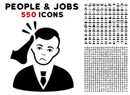 Unhappy Kickboxer Victim pictograph with 550 bonus pitiful and glad people icons. Vector illustration style is flat black iconic symbols.