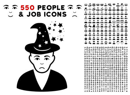 Dolor Magic Master pictograph with 550 bonus pitiful and glad men images. Vector illustration style is flat black iconic symbols.