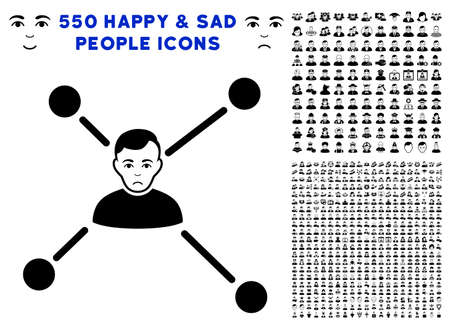 Sadly Man Links icon with 550 bonus pity and glad user symbols. Vector illustration style is flat black iconic symbols. Illustration