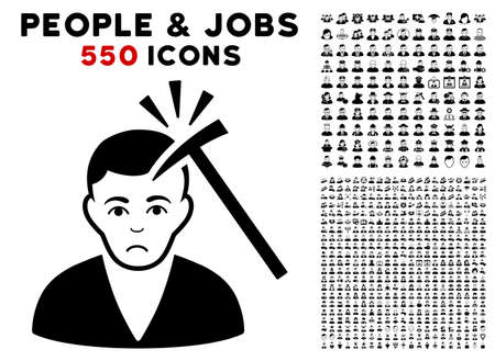 Dolor Murder With Hammer pictograph with 550 bonus sad and happy people pictograms. Vector illustration style is flat black iconic symbols. Illustration