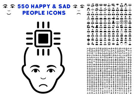 Unhappy Neural Computer Interface pictograph with 550 bonus sad and glad jobs graphic icons. Vector illustration style is flat black iconic symbols.