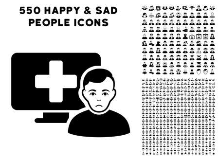 Dolor Online Medicine pictograph with 550 bonus pity and happy jobs symbols. Vector illustration style is flat black iconic symbols.