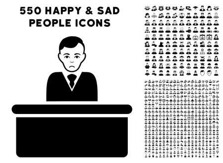 Sadly office clerk pictograph with a set of sad and happy people design elements. Illustration