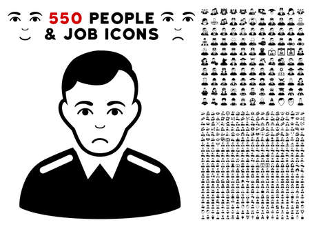 Unhappy Officer pictograph with 550 bonus pitiful and happy men images. Vector illustration style is flat black iconic symbols.