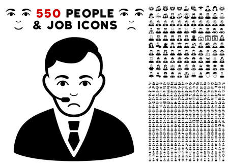 Unhappy Operator pictograph with 550 bonus pity and happy men pictographs. Vector illustration style is flat black iconic symbols. Illustration