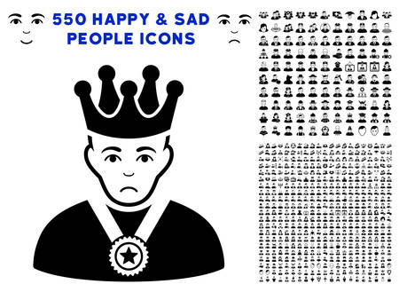 Unhappy Overlord Boss pictograph with 550 bonus pity and happy jobs clip art. Vector illustration style is flat black iconic symbols.