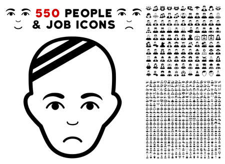 Pitiful Patient Head icon with 550 bonus pity and glad person graphic icons. Vector illustration style is flat black iconic symbols.