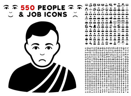 Dolor Patrician Citizen pictograph with 550 bonus sad and glad person pictograms. Vector illustration style is flat black iconic symbols.