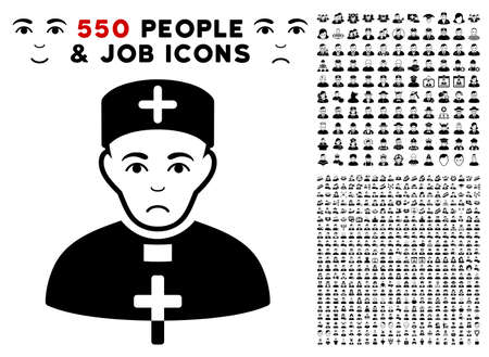 Unhappy Priest Doctor pictograph with 550 bonus sad and happy people clip art. Vector illustration style is flat black iconic symbols.