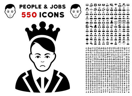 Unhappy Prince icon with 550 bonus sad and happy person design elements. Vector illustration style is flat black iconic symbols.