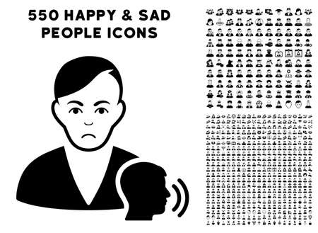 Pitiful Psychoanalysis Talking pictograph with 550 bonus sad and glad people symbols. Vector illustration style is flat black iconic symbols. Stock Vector - 94441643