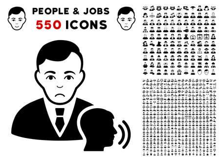 Dolor Psychotherapist Visit pictograph with 550 bonus pity and happy jobs pictographs. Vector illustration style is flat black iconic symbols. Ilustração