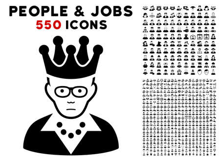 Sad King pictograph with 550 bonus sad and happy people pictures. Vector illustration style is flat black iconic symbols.