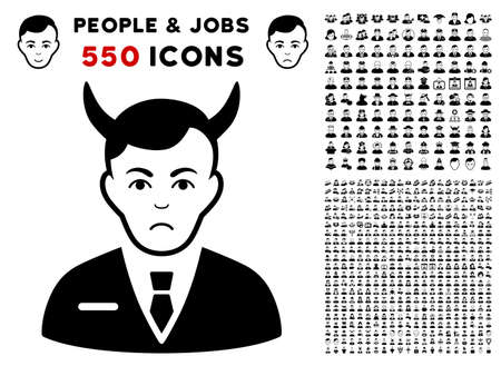 Pitiful Satan icon with 550 bonus sad and glad jobs pictographs. Vector illustration style is flat black iconic symbols.