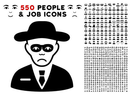 Unhappy Security Agent pictograph with 550 bonus pitiful and glad jobs images. Vector illustration style is flat black iconic symbols.