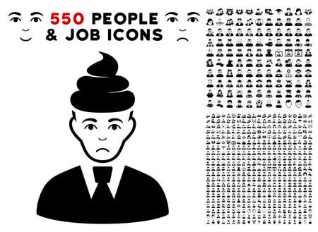 Sadly Shit Guy icon with 550 bonus pity and glad user clip art. Vector illustration style is flat black iconic symbols. Ilustração