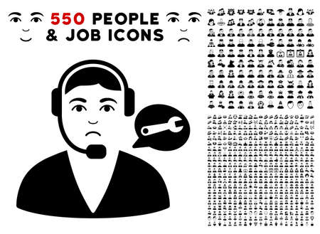 Dolor Support Center Operator icon with 550 bonus pitiful and happy jobs graphic icons. Vector illustration style is flat black iconic symbols. Ilustração