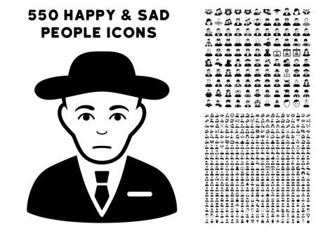 Sadly Secret Service Agent icon with 550 bonus pitiful and happy user images. Vector illustration style is flat black iconic symbols. Illustration