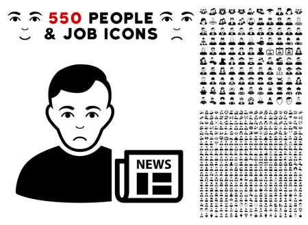 Sad User News pictograph met 550 bonusmedelijden en blije gebruikersontwerpelementen. Vector illustratie stijl is plat zwarte iconische symbolen.