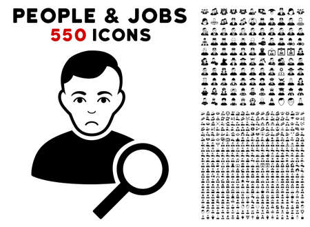 Unhappy User Search pictograph with 550 bonus pity and happy person symbols. Vector illustration style is flat black iconic symbols.