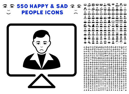 Sadly Video Contact pictograph with 550 bonus pitiful and glad person design elements. Vector illustration style is flat black iconic symbols. Ilustrace
