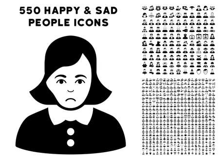 Sadly Woman pictograph with 550 bonus pitiful and glad jobs pictures. Vector illustration style is flat black iconic symbols.