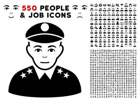 Army General icon with 550 bonus pity and glad people symbols. Vector illustration style is flat black iconic symbols.