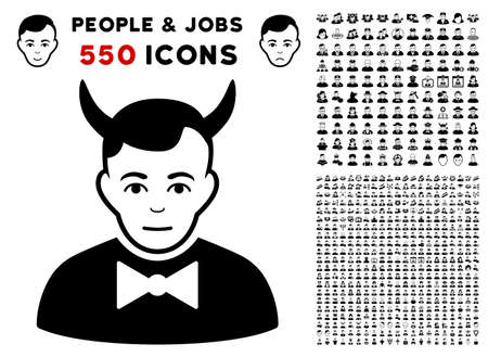 Devil pictograph with 550 bonus pitiful and glad person graphic icons. Vector illustration style is flat black iconic symbols. Illustration