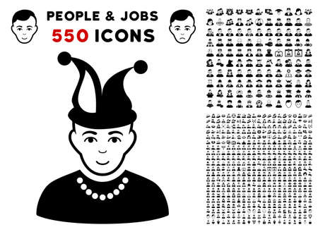 Fool pictograph with 550 bonus pitiful and glad men clip art. Vector illustration style is flat black iconic symbols.