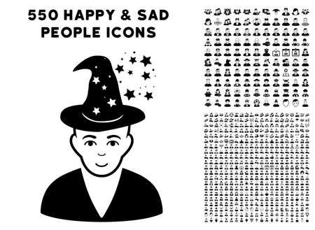 Magic pictograph with 550 bonus pity and glad user images. Vector illustration style is flat black iconic symbols.