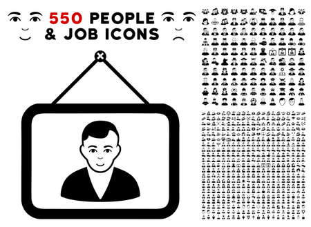 Portrait icon with 550 bonus pitiful and glad user icons. Vector illustration style is flat black iconic symbols.