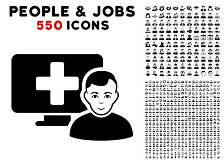 Online Medicine icon with 550 bonus pity and happy person images. Vector illustration style is flat black iconic symbols.