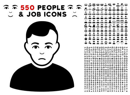 Sad pictograph with 550 bonus pitiful and glad person pictograms. Vector illustration style is flat black iconic symbols.